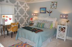 This little girl's room is stocked with HomeGoods treasures. Everything from the bedding, desk chair, bedside tables and lamps were HomeGoods finds. We wanted a bright eclectic look!