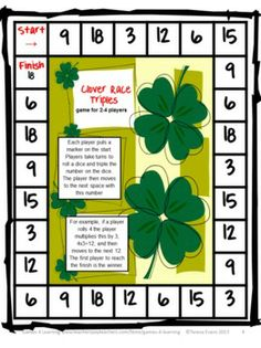 FREEBIE - St Patrick's Day Math Printables from Games 4 Learning. This set includes 3 St. Patrick's Day math activities.
