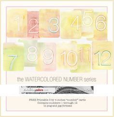 journal cards {Freebie:Printable watercolor numbers}