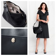 Landmark Verona Shoulder Bag by Lands' End. If you need a roomier bag but don't want to carry a tote, this shoulder bag is perfect. #Leather #Handbag #CarryTheDay