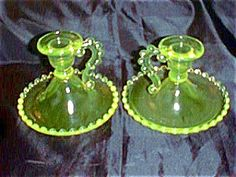VASELINE CANDLEHOLDERS CANDLEWICK STYLE. Click the image for more information.