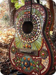 mosaic decorated guitar
