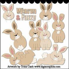 Just Bunnies Clip Art - Original Artwork by Trina Clark
