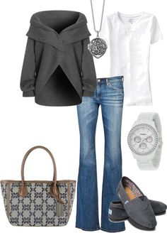 Love this style... jacket, sweaters, fashion, tom shoes, fall outfits, casual looks, casual outfits, bags, fall weather