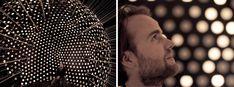 --Simon Brünner in his supernova architectural lighting installation.