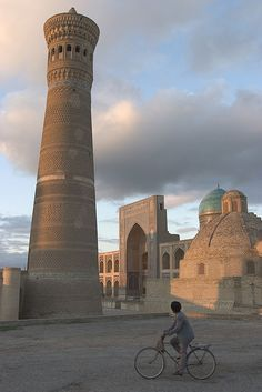 """Kalyan minaret, Po-i-Kalan complex, Bukhara, Uzbekistan. It was also known as """"Tower of Death"""", as for centuries criminals were executed by being tossed off the top."""