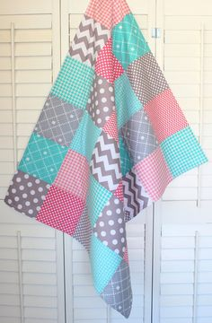 Baby Girl Blanket Fleece Blanket Coral Crib by theredpistachio