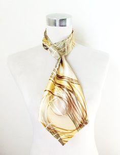 Polyester Silk-Feel Magic Fashion Neck Scarf - Yellow/Gray Leaf Design (40+ tying styles) $6.95