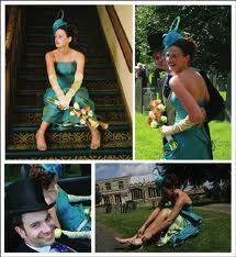 I love everything about this - the unconventional colour of her dress, and their hats make me smile!
