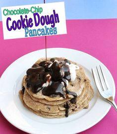 Healthy pancakes that taste like chocolate-chip cookies!! Yes, for real.