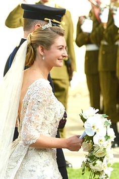 Countess Stephanie de Lannoy of Belgium arriving at her wedding to Hereditary Grand Duke Guilluame of Luxembourg.