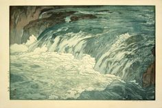 "Yoshida, Hiroshi (1876-1950) ""Rapids"" woodcut (8 blocks and 33 printing passes)"