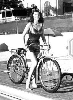 vintag, beverly hills, peopl, bicycles, rita hayworth