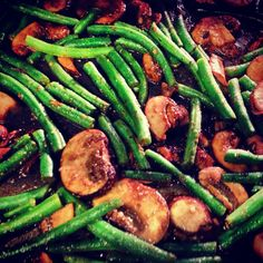 Roasted green beans and mushrooms with balsamic and Parmesan