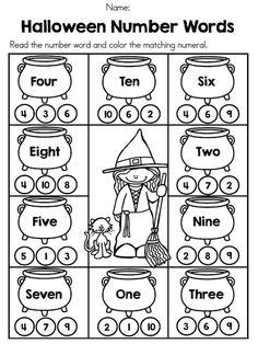 Halloween Number Words >> Part of the Halloween Kindergarten Math Worksheets Packet