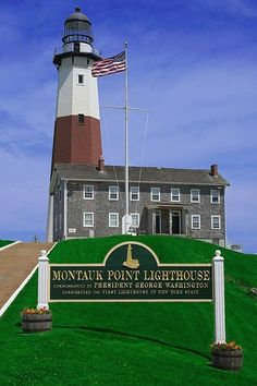 The Montauk Point Lighthouse is located in Montauk State Park in Montauk Long Island in the town of East Hampton. It was the first constructed lighthouse in New York State. This lighthouse is the 4th oldest active lighthouse in the United States.Originally completely white a stripe was added to the lighthouse in 1903.