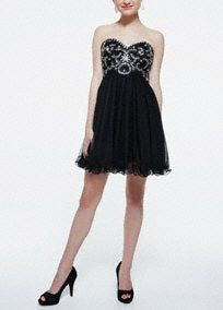 This elegant and dazzling homecoming dress with beaded swirl design is the epitome of modern glamour!  Strapless bodice features stunning and unique beaded swirl design detail.  Short mesh over tulle skirt adds movement and is perfect for homecoming night.  Fully lined. Back zip. Imported polyester. Professional spot clean.