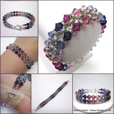 Something New!  Only One Available!    All Beaded Jewels Designs are exceptional in quality and craftsmanship!    Hand Crafted two row Chainmaille /Swarovski Crystals Bracelet fading in from light rose to dark purple into violet continuously throughout the bracelet with 8 crystals 4mm and der rest 6mm crystals. Bracelet is 7 1/2 inches long and finishes of with a sterling silver two row toggle closure    Price $94.07 plus