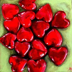 original painting Red Glass Hearts on canvas by eleuthera on Etsy, $115.00