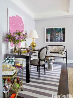 When entertaining, the desk is used as a dining table.