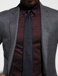 Gray Blazer with Burgundy Shirt and Black Tie