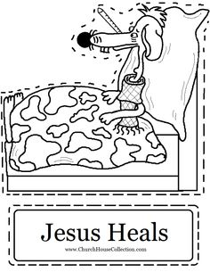 "Church House Collection Blog: Sick Dog With Thermometer ""Jesus Heals"" Cutout Printable For Small Kids"