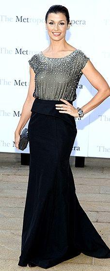 Bridget Moynahan looks elegant in a black gown featuring a sheer top at the Metropolitan Opera Season Opening