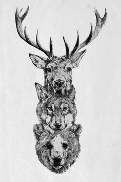 bear, animal tattoos, forest creatur, forest tattoos, forest tattoo back, bohemian tattoos, animal totems, back of shoulder tattoos, tattoos forest