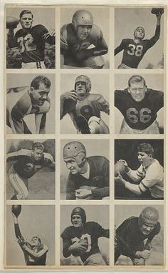 Issued by Bowman Gum Company. Sheet of 12 uncut football cards, from the Bowman Football series (R407-1) issued by Bowman Gum, 1948. The Metropolitan Museum of Art, New York. The Jefferson R. Burdick Collection, Gift of Jefferson R. Burdick (Burdick 327, R407-1.1) #MetGridironGreats