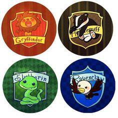 harri potter, lion, badg, button, hogwart