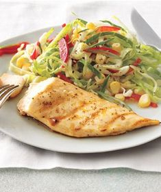 Grilled Lemon Chicken With Cabbage and Corn Slaw recipe from realsimple.com #myplate #protein
