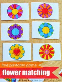 flower matching, flowers preschool, flower activities preschool, printable matching game, memory games, matching games, free printabl, match game, printabl flower