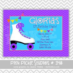 Purple & Chevron Skating Personalized Party Invitation-personalized invitation, photo card, photo invitation, digital, party invitation, birthday, shower, announcement, printable, print, diy,1950s, diner
