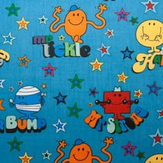 Mr Men and Little Miss on blue