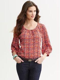 Tile print blouse | Banana Republic | Love this in Autumn Sun!