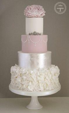 dream cake, cotton, silver leaf, pink cakes, ruffle cake, blush pink, wedding cakes, silver weddings, ruffles