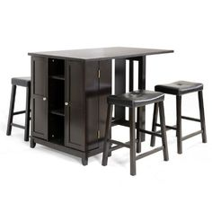 Baxton Studio 5-Piece Aurora Modern Pub Table Set with Cabinet Base, Dark Brown:Amazon:Home & Kitchen