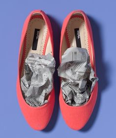 Dry damp shoes and boots (and help them keep their shape) by stuffing their insides with crumpled newspaper.