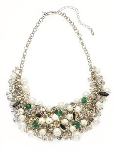 M&S Collection Faux Pearl Sparkle Cluster Necklace