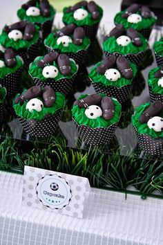 World Cup Soccer themed birthday party: Cupcakes