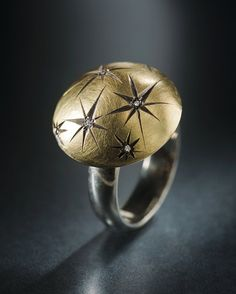 Diamond Starburst 18k yellow Gold and Sterling Silver Domed Constellation Ring, via Etsy.