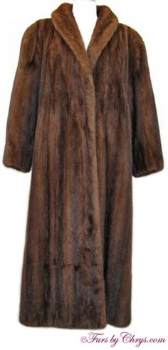 Long Mahogany Mink Coat #MM725; $2000.00; Excellent Condition; Women's 10 - 16. This is an elegant, luxuriously long genuine natural mahogany mink fur coat.It has Continental label and features a shawl collar, straight sleeves and built-in shoulder pads. An appraisal indicates a replacement value of $11,500, and a copy of this appraisal will be included with your purchase. Quality is evident in this spectacular fur. You will feel like royalty when you wear this glamorous mahogany mink coat!