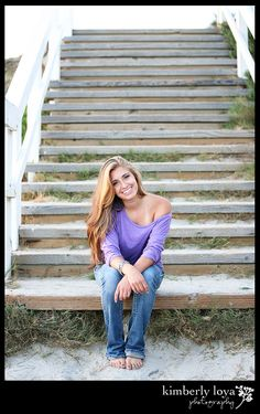 Staircase at beach, senior photographs, senior pictures