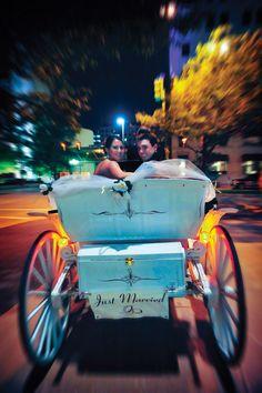 A horse-drawn carriage as transportation.    Laske Images.  www.wedsociety.com  #wedding #transportation