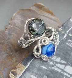 Handmade Wire Wrap Glass Bead Ring, studiodct. $26.00, via Etsy.