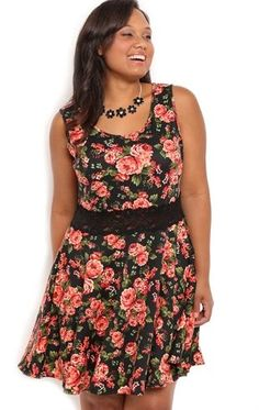 Deb Shops Plus Size #Floral Print #Skater Dress with Lace Illusion Waist $45.00