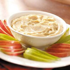 """Caramel Fruit Dip ~ """"This creamy, melt-in-your-mouth dip, served with assorted fruits, makes a refreshing accompaniment to a holiday cheese tray."""" says the contributor, Trish Gehlhar, Ypsilanti, North Dakota"""