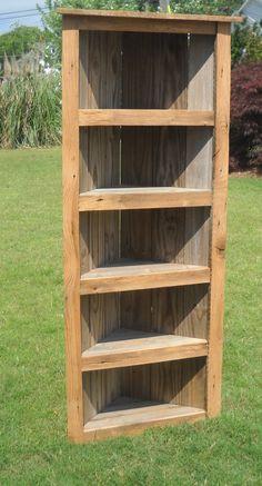 Barnwood Bookcase, Barnwood Corner Bookcase, Corner Bookcase, Rustic Bookcase. $275.00, via Etsy.
