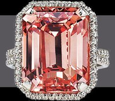 Largest Fancy Deep Orangy Pink, Internally Flawless, Emerald Cut diamond. 18.33 ct. Ultimately known as the Millenium Rose.