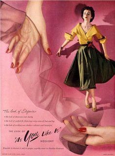 1951 - Dovima models As You Like It nylons stockings